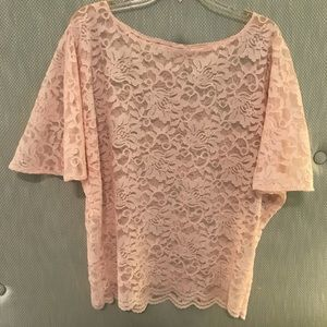 Tops - Pink lace dolman top